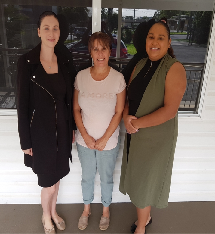 Natalie from National FM (left) with RealFutures Karen Wood (right) and a very happy recipient.